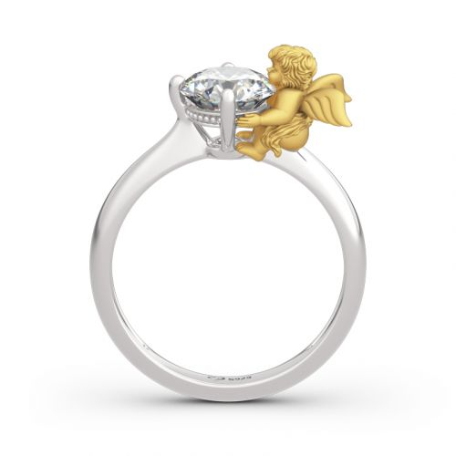 """Jeulia """"Angel's Love"""" Round Cut Sterling Silver Ring"""