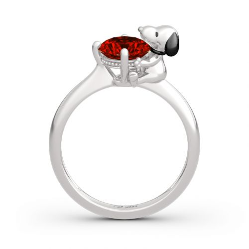"""Jeulia """"Live in The Present"""" Puppy Round Cut Sterling Silver Ring"""