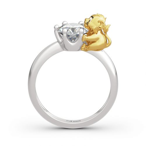 """Jeulia """"King of the Jungle"""" Lion Crown Round Cut Sterling Silver Ring"""