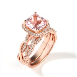 Jeulia Twist Halo Cushion Cut Synthetic Morganite Sterling Silver Ring Set