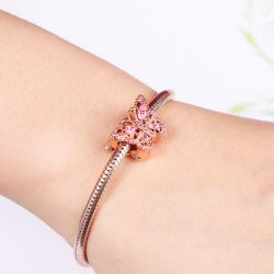Butterfly Charm Bead 925 Sterling Silver 18k Rose Gold Plated