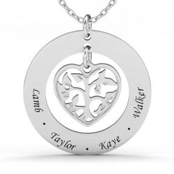 Jeulia Heart In Circle Sterling Silver Engravable Necklace