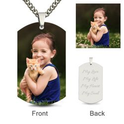 Jeulia Dog Tag Personalized Color Photo Necklace Sterling Silver