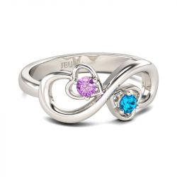 Jeulia Infinity And Heart Design Round Cut Sterling Silver Ring