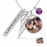 Jeulia Angel's Wing Personalized  Photo Necklace Sterling Silver