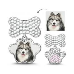 Paw Print & Bone Photo Charm De Plata Esterlina