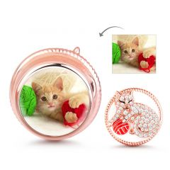 cat Playing Yarn Ball Foto Charm De Plata Esterlina