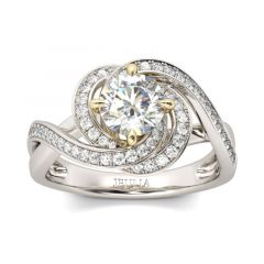 Jeulia Twist Floral Round Cut Sterling Silver Ring
